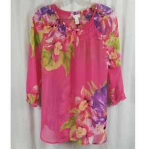 Chico's Pink Floral Sheer Popover Top 1 S
